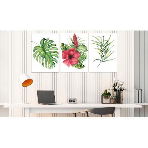Tablou Red Hibiscus (3 Parts) 120 cm x 60 cm naturlich.ro