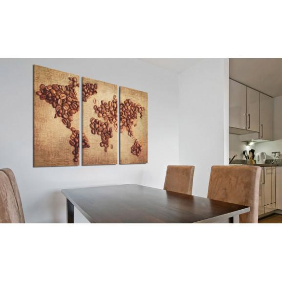 Tablou Coffee From Around The World Triptych 120 cm x 80 cm naturlich.ro