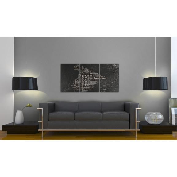 Tablou Map Of Spain On The Blackboard Triptich 120 cm x 60 cm naturlich.ro