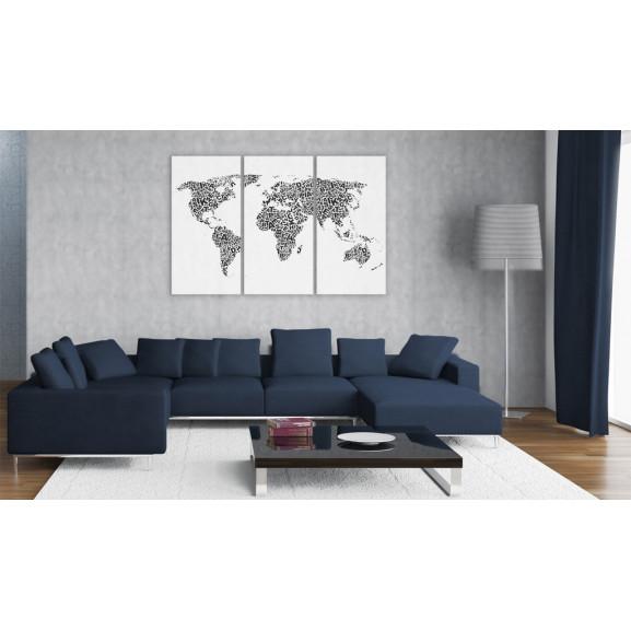 Tablou The World Map Alphabet Triptych 120 cm x 80 cm naturlich.ro