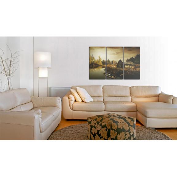 Tablou Idyllic Village Triptych 120 cm x 80 cm naturlich.ro