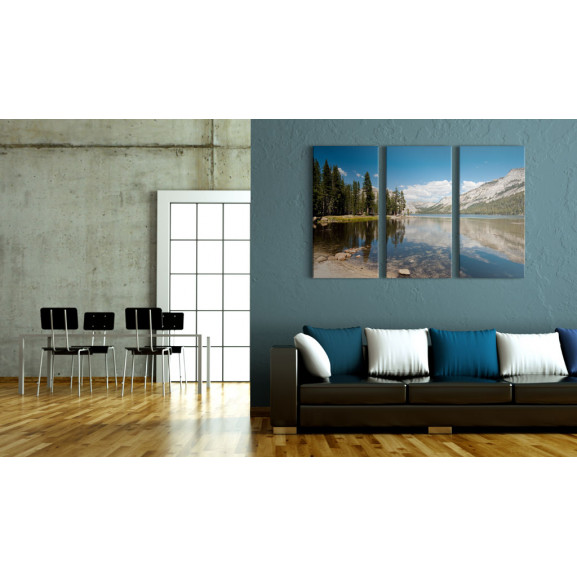 Tablou Mountains, Trees And Pure Lake 120 cm x 80 cm naturlich.ro