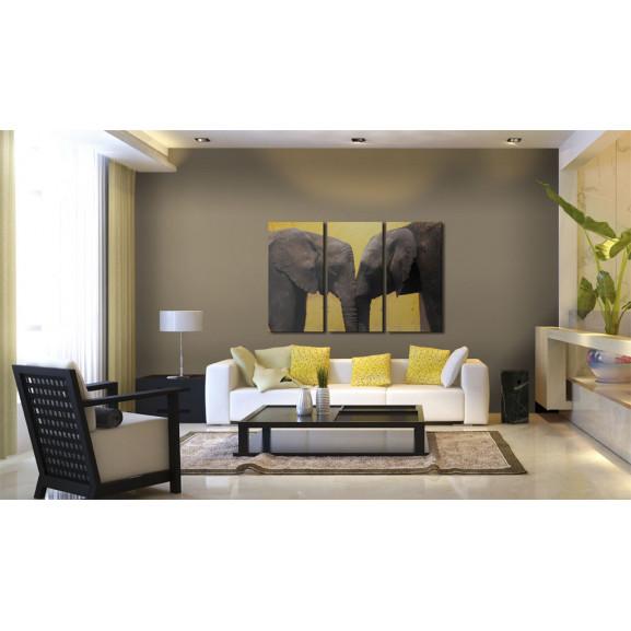 Tablou Elephant Kiss 120 cm x 80 cm naturlich.ro
