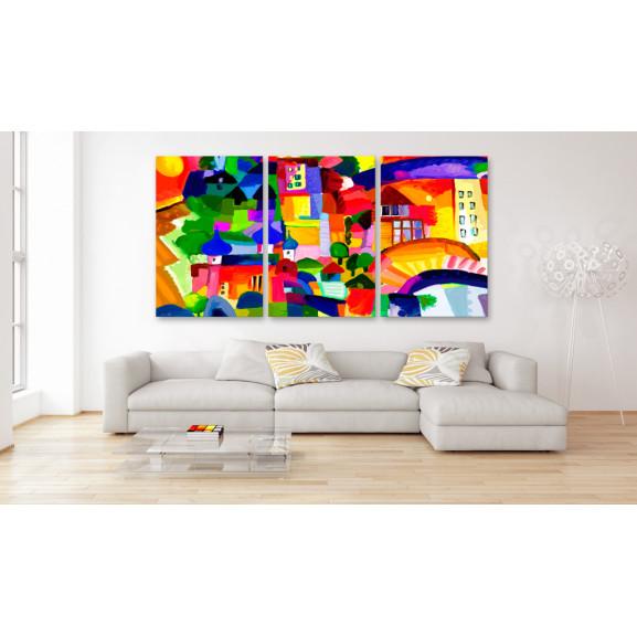 Tablou Colourful Town 120 cm x 60 cm naturlich.ro