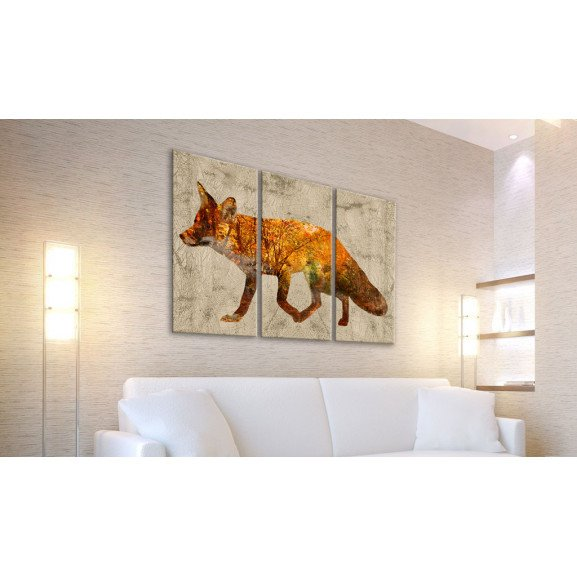Tablou Fox In The Wood 120 cm x 80 cm naturlich.ro