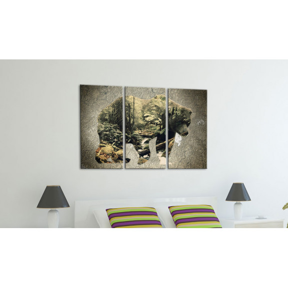 Tablou The Bear In The Forest 120 cm x 80 cm naturlich.ro