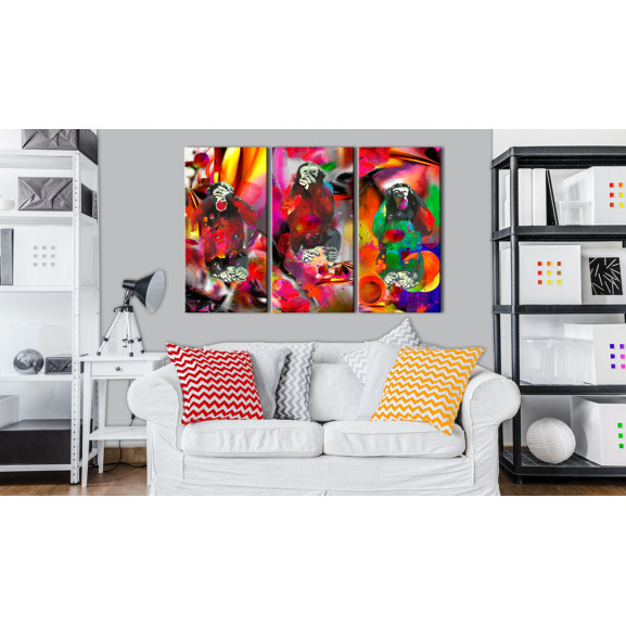Tablou Crazy Monkeys Triptych 120 cm x 80 cm naturlich.ro