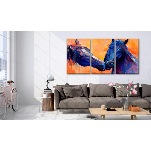 Tablou Blue Horses 120 cm x 60 cm naturlich.ro