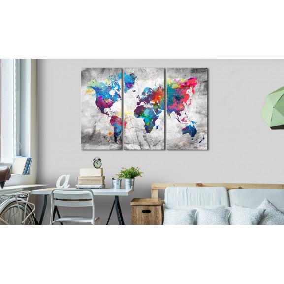 Tablou Maps: Grey Style 120 cm x 80 cm naturlich.ro