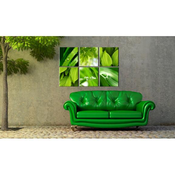 Tablou Fresh Green Leaves 120 cm x 80 cm naturlich.ro