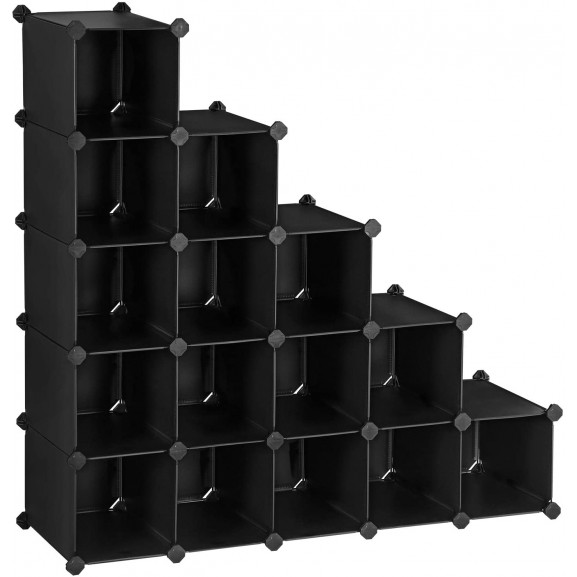 Raft De Depozitare Din Plastic, Negru, 113 x 36 x 113 cm naturlich.ro