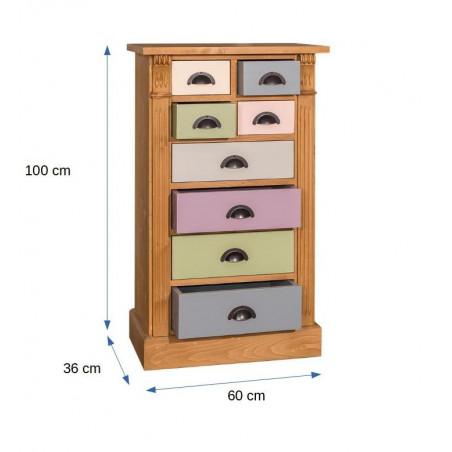 Comoda 8 Sertare Odette, lemn masiv, Multicolor, 60 x 36 x 100 cm-01