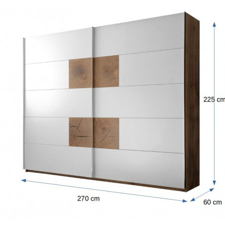 Dulap cu usi culisante Castello, Alb & Stejar Salbatic, 2700 x 2250 x 600 mm.-01