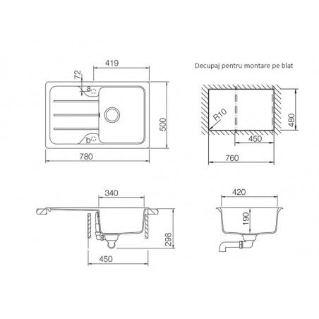 Set chiuveta bucatarie Schock Formhaus D-100S si baterie bucatarie Schock Cosmo Cristalite Moonstone cu dus extract. 78 x 50cm-01