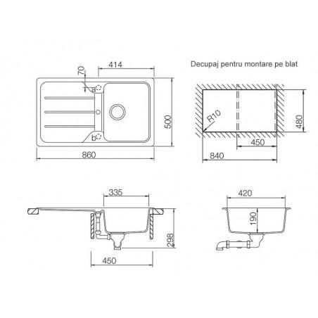 Set chiuveta bucatarie Schock Formhaus D-100 si baterie bucatarie Schock Cosmo Cristalite Moonstone cu dus extract. 86 x 50 cm-01