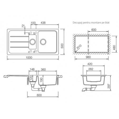 Set chiuveta bucatarie Schock Formhaus D-150L si baterie bucatarie Schock Cosmo Cristalite Asphalt cu dus extract. 100 x 50 cm-01