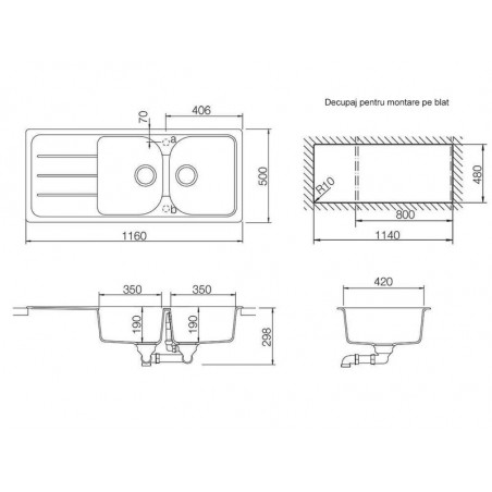 Set chiuveta bucatarie Schock Formhaus D-200 si baterie bucatarie Schock Cosmo Cristalite Moonstone cu dus extract. 116 x 50cm-01