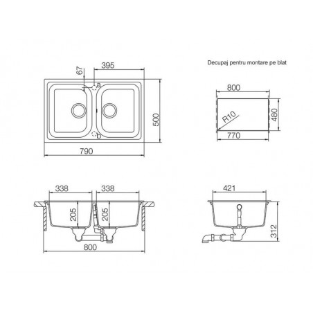 Set chiuveta bucatarie Schock Viola N-200S si baterie bucatarie Schock Plutos Cristalite Croma79 x 50 cm-01