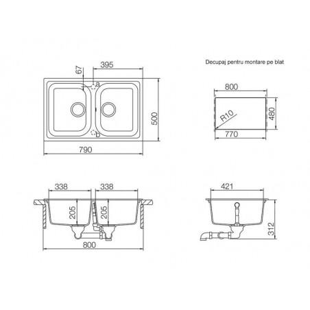 Set chiuveta bucatarie Schock Viola N-200S si baterie bucatarie Schock Plutos Cristalite Moonstone 79 x 50 cm-01