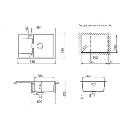 Set chiuveta bucatarie Schock Mono D-100 si baterie bucatarie Schock Laios Cristadur Magnolia cu dus extractibil, 76,5 x 51 cm-01