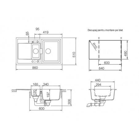 Set chiuveta bucatarie Schock Mono D-150 si baterie bucatarie Schock Laios Cristadur Puro 86 x 51 cm-01