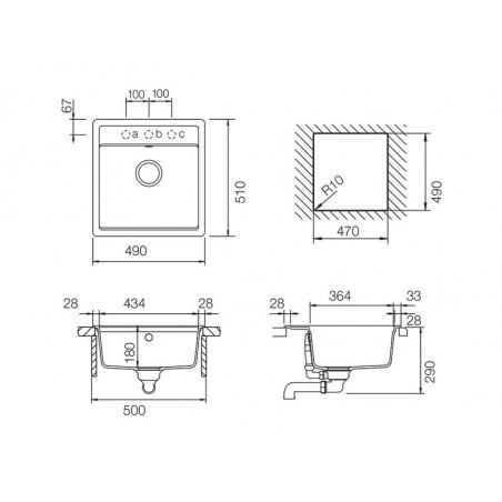 Set chiuveta bucatarie Schock Mono N-100S si baterie bucatarie Schock Laios Cristadur Silverstone49 x 51 cm-01