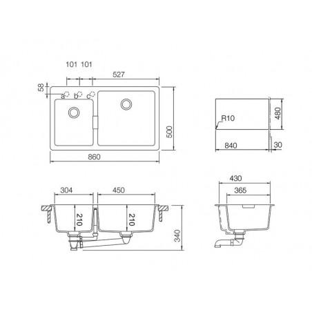 Set chiuveta bucatarie Schock Signus N-175 si baterie bucatarie Schock Laios Cristadur Puro cu dus extractibil 86 x 50 cm-01