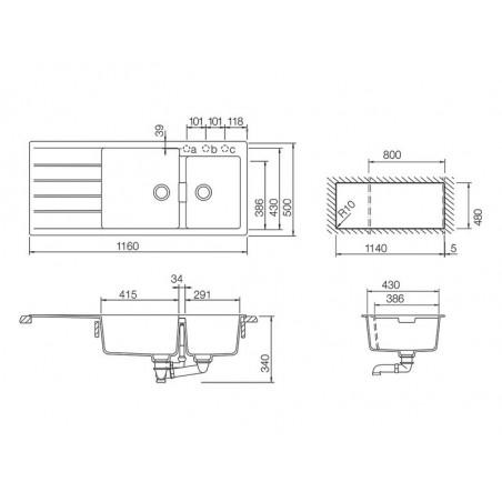 Set chiuveta bucatarie Schock Signus D-175 si baterie bucatarie Schock Laios Cristadur Silverstone cu dus extract. 116 x 50 cm-01