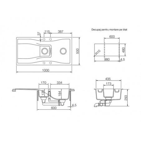 Set chiuveta bucatarie Schock Waterfall D-150 si baterie bucatarie Schock Laios Cristadur Silverstone 100 x 50 cm-01
