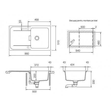 Set chiuveta bucatarie Schock Wembley D-100 si baterie bucatarie Schock Laios Cristadur Polaris cu dus extractibil 86 x 51 cm-01