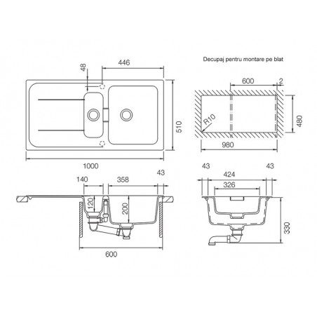 Set chiuveta bucatarie Schock Wembley D-150 si baterie bucatarie Schock Laios Cristadur Silverstone cu dus extract. 100 x 51 cm-01