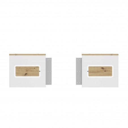 Set Panouri Noptiere Olinda, Alb Si Stejar Artisan, 55,5 X 6,2 X 50,7 cm-01