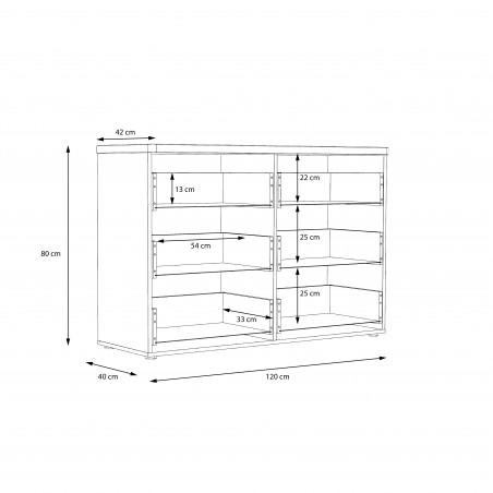 Comoda Olinda, Alb Si Stejar Artisan, 120,1 X 42 X 81,8 cm-01