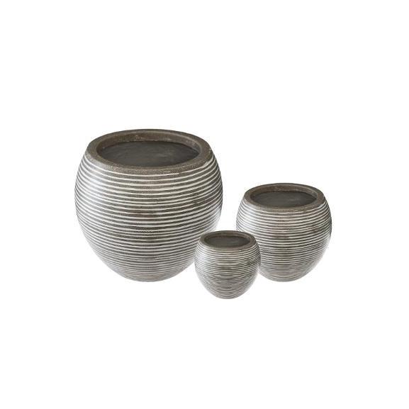 Set 3 Ghivece Ceramice Rotund Gri...