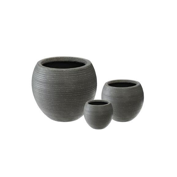 Set 3 Ghivece Ceramice Rotund Gri