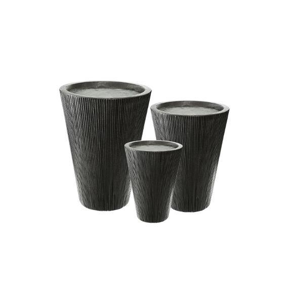Set 3 Ghivece Ceramice Inalt Gri Inchis