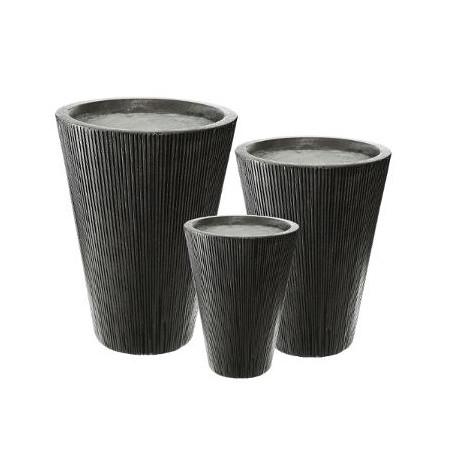 Set 3 Ghivece Ceramice Inalt Gri Inchis-01