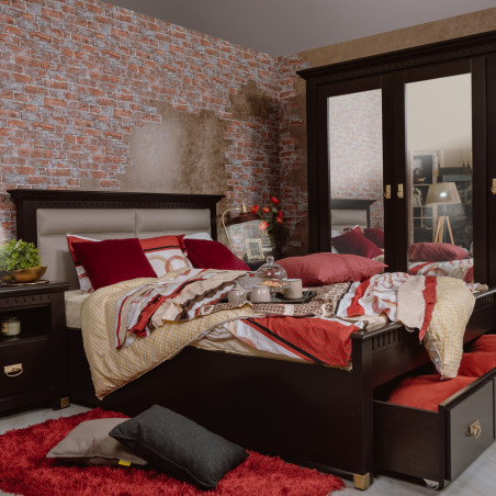 Dormitor Saint Tropez, Negru, Pat 1600 mm.-01