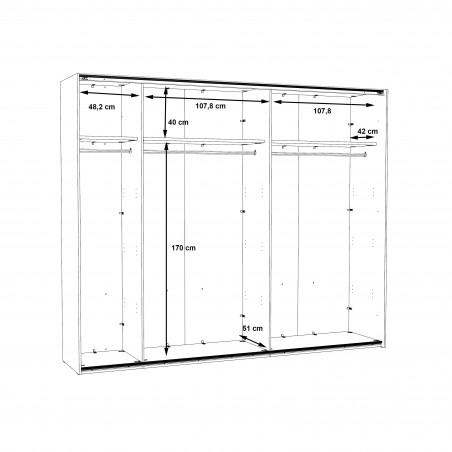 Dulap 2 Usi Culisante + 1 Oglinda Olivier, 270,1 x 62 x 223 cm-01