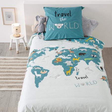 Lenjerie Pat Copii World Maps 140 x 200 cm-01