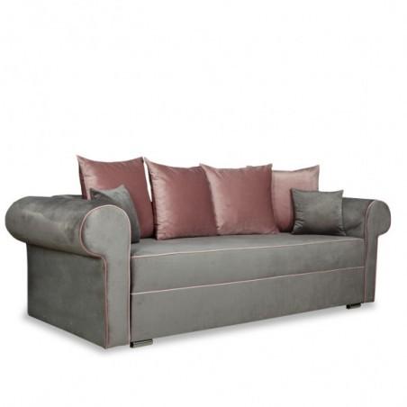Canapea extensibila Sofia, Gri si roz, 2510 x 1050 x 750 mm.-01