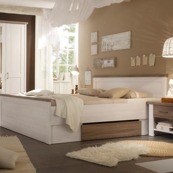 Set Dormitor Leon, Pin Alb & Truffle,...