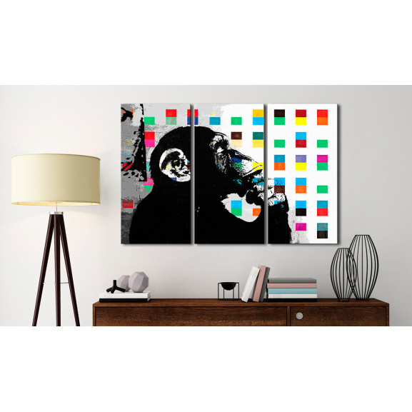 Tablou The Thinker Monkey By Banksy 120 cm x 80 cm naturlich.ro