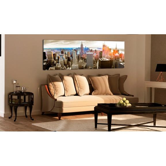 Tablou Manhattan: Island For Rich 120 cm x 40 cm naturlich.ro