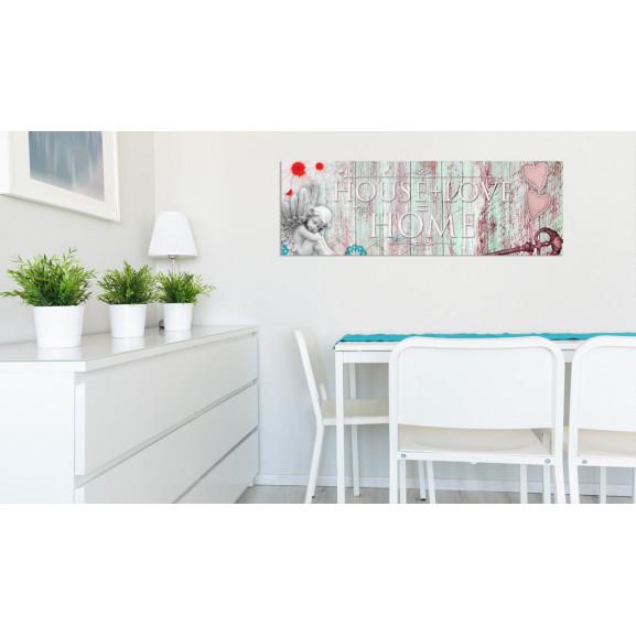 Tablou Home: House + Love 120 cm x 40 cm naturlich.ro
