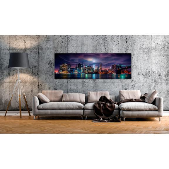 Tablou New York: Dark City 135 cm x 45 cm naturlich.ro