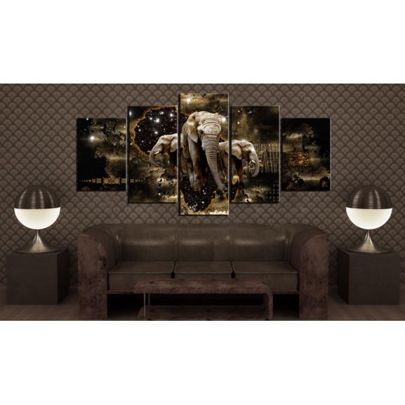 Tablou Brown Elephants 100 cm x 50 cm naturlich.ro