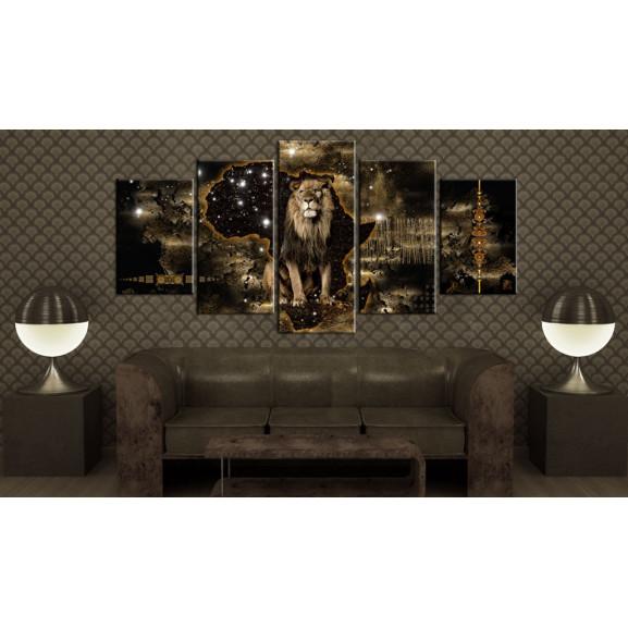 Tablou Golden Lion 100 cm x 50 cm naturlich.ro