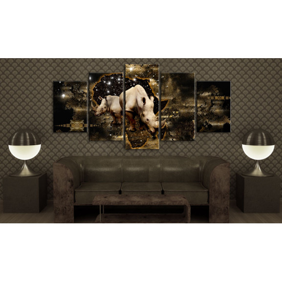Tablou Golden Rhino 100 cm x 50 cm naturlich.ro