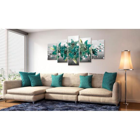 Tablou Turquoise Bouquet 100 cm x 50 cm naturlich.ro